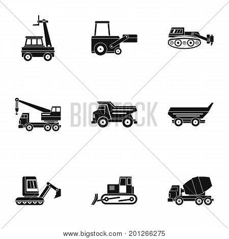 Construction heavy vehicle icon set. Simple set of 9 construction heavy vehicle vector icons for web isolated on white background