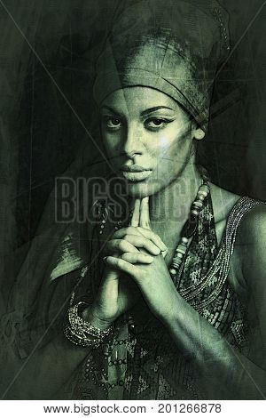 African black young woman beauty portrait with turban headscarf and traditional  clothes studio shot texture added