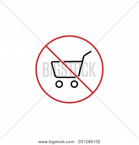 Thin Line Dont Use Shopping Cart Sign On White Background