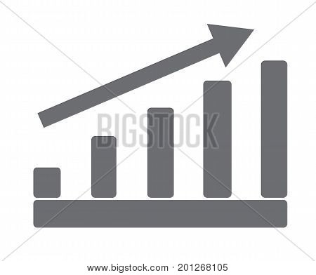 gray growing graph on white background. gray growing graph sign. flat style design.