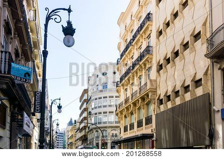 VALENCIA, SPAIN - March 10, 2017: street view of downtown valencia, is Spain's third largest metropolitan area, with a population ranging from 1.7 to 2.5 million