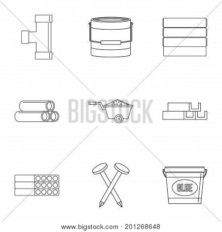Building material icon set. Outline set of 9 building material vector icons for web isolated on white background