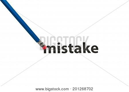 A pencil with eraser is correcting mistake. Eraser and mistake concept. To erase mistake.