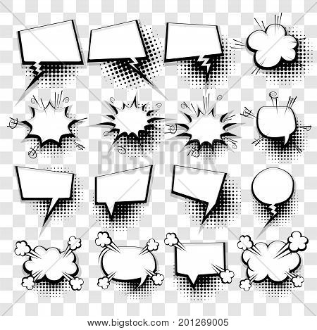 20 Big set picture blank template pop art style comic text speech bubble halftone dot background. Comics book dialog empty cloud, space cartoon box pop-art. Creative idea conversation sketch explosion