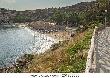 Panoramic view of Tourkolimnionas Beach at Sithonia peninsula, Chalkidiki, Central Macedonia, Greece