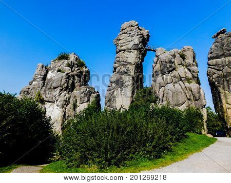 The sand-stone rock formation of Externsteine, Germany
