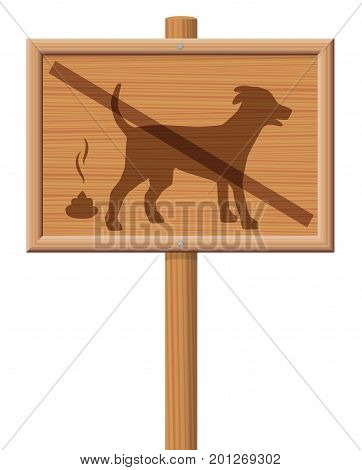 No dog poop zone - wooden signboard with crossed out dog.