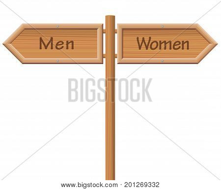 Men and women signpost - Wooden guidepost pointing into opposite - isolated vector illustration on white background.
