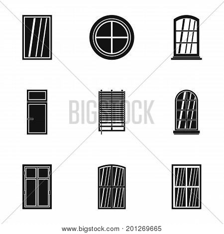 Architectural window icon set. Simple set of 9 architectural window vector icons for web isolated on white background