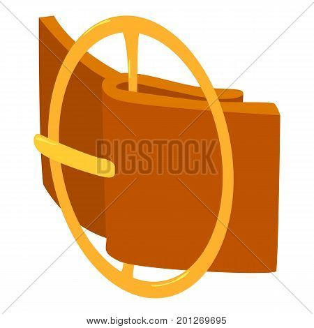 Circular belt buckle icon. Isometric illustration of circular belt buckle vector icon for web