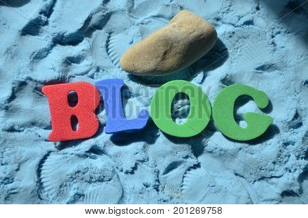 word blog on a   abstract  blue background