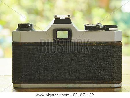 single lens reflect camera shooting to garden