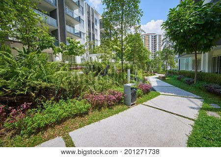 Modern residential buildings with outdoor facilitiesgreen Facade of new low-energy houses