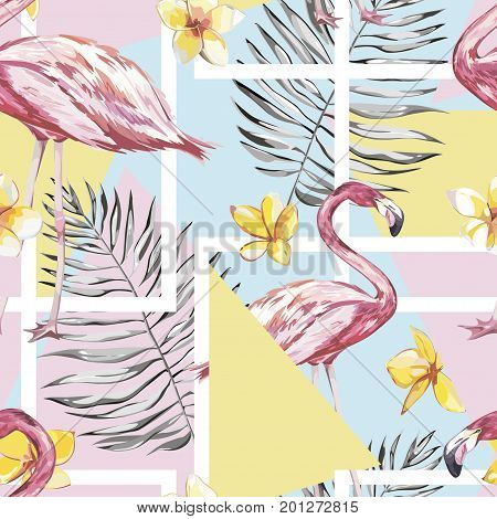Banner, poster with flamingo, palm leaves, jungle leaf. Beautiful vector floral tropical summer background. Lettering composition - Travel time. EPS 10