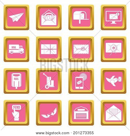 Poste service icons set in pink color isolated vector illustration for web and any design
