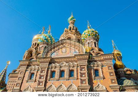 St Petersburg Russia. Cathedral of Our Savior on Spilled Blood, closeup facade scene. Architecture autumn landscape of St Petersburg Orthodox landmark. City landscape of St Petersburg Russia