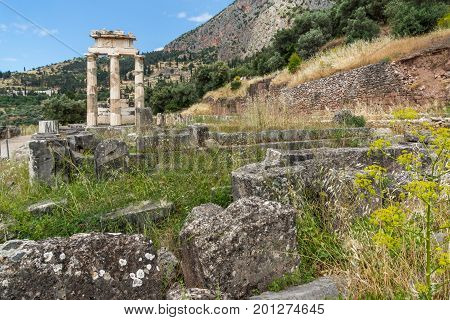 Amazing view of Ruins and Athena Pronaia Sanctuary at Ancient Greek archaeological site of Delphi, Central Greece