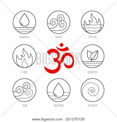 Ayurveda icons set, thin vector signs isolated on white. Ayurveda elements icons, ayurveda doshas icons. Ayurvedic body types vata, pitta, kapha