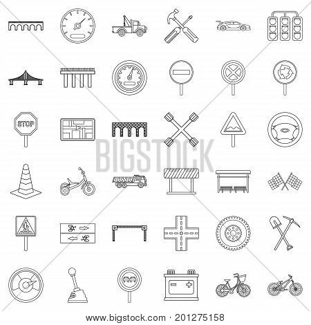 Traffic light icons set. Outline style of 36 traffic light vector icons for web isolated on white background