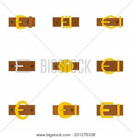 Metal belt buckle icon set. Flat set of 9 metal belt buckle vector icons for web isolated on white background