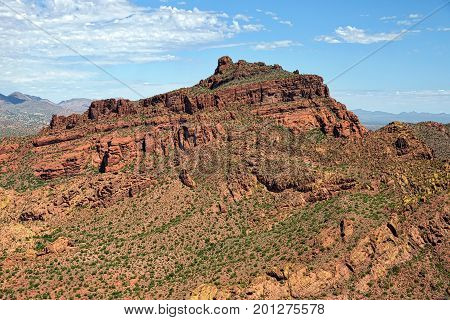Aerial view of Red Mountain in Mesa Arizona looking south to north