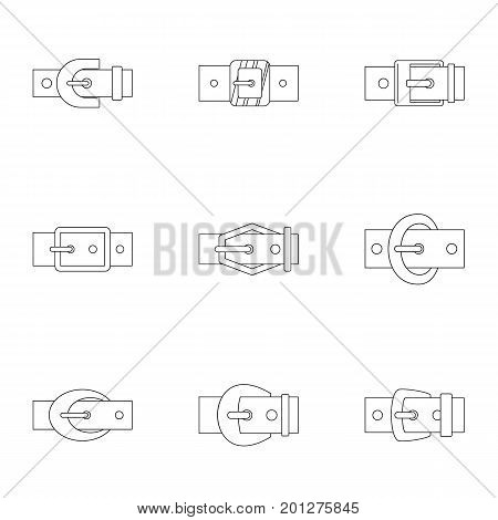 Fashion belt buckle icon set. Outline set of 9 fashion belt buckle vector icons for web isolated on white background