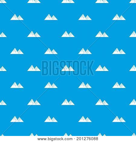 Swiss alps pattern repeat seamless in blue color for any design. Vector geometric illustration
