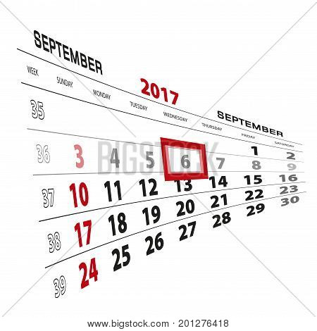 September 6, Highlighted On 2017 Calendar. Week Starts From Sunday.