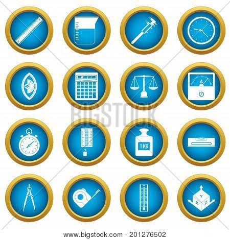 Measure precision icons blue circle set isolated on white for digital marketing