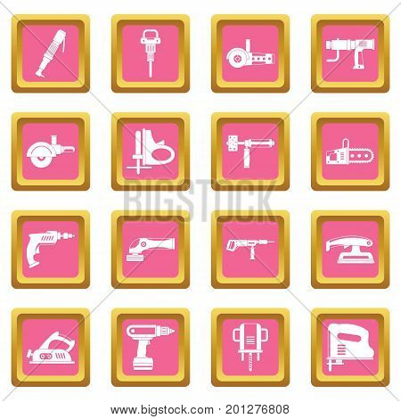 Electric tools icons set in pink color isolated vector illustration for web and any design