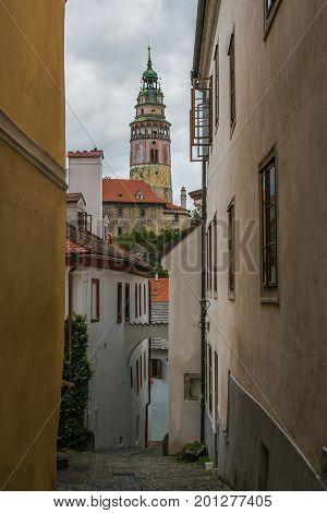 Medieval street in the historic center of Cesky Krumlov, Bohemia