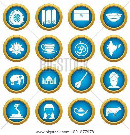India travel icons blue circle set isolated on white for digital marketing