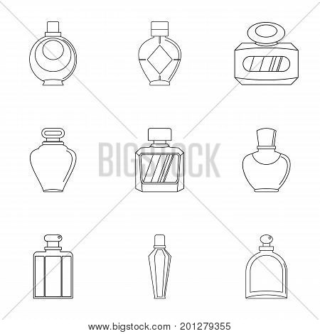 Glamour perfume bottle icon set. Outline set of 9 glamour perfume bottle vector icons for web isolated on white background