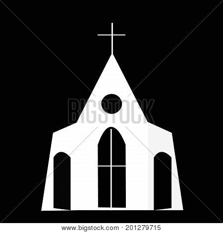 White church on a black background. Christianity concept.