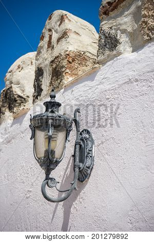 Outdoor Lamp On White Castle Wall