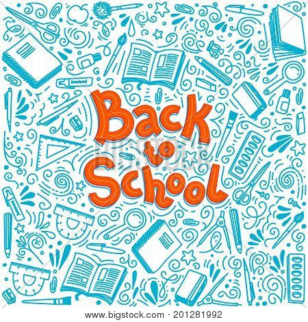 Stationery collection. Outline style. Back to school thin line vector doodle illustration template isolated on white background.  Back to school. Writing material