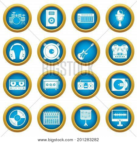 Recording studio items icons blue circle set isolated on white for digital marketing
