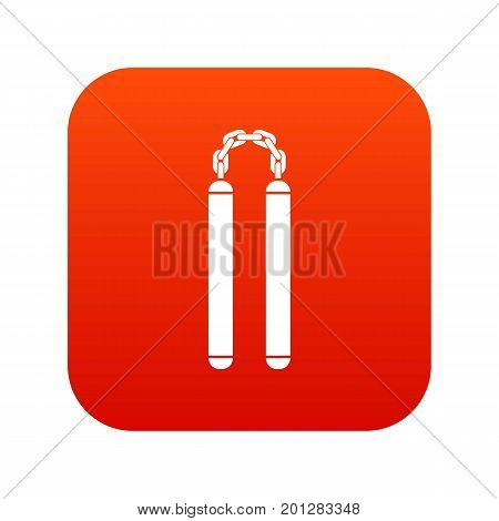 Nunchaku icon digital red for any design isolated on white vector illustration