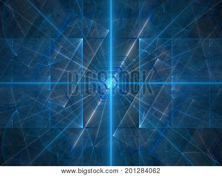 Blue glowing laser beams computer generated abstract background 3D rendering