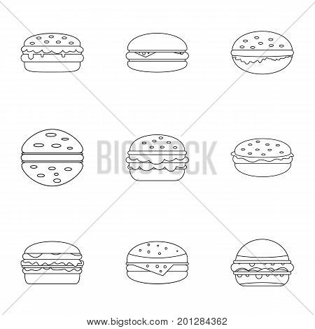Cheeseburger food icon set. Outline set of 9 cheeseburger food vector icons for web isolated on white background