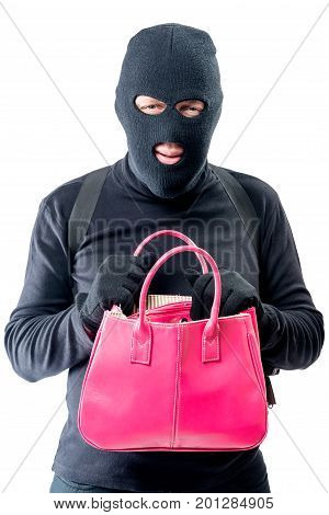 Criminal With A Pink Bag In Search Of Valuable Things On A White Background