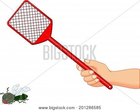 Vector illustration of Fly swatter on white background