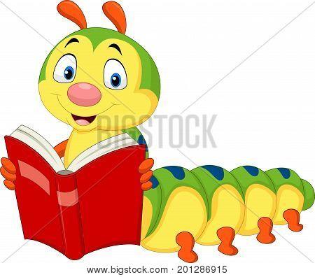 Vector illustration of cartoon caterpillar reading book