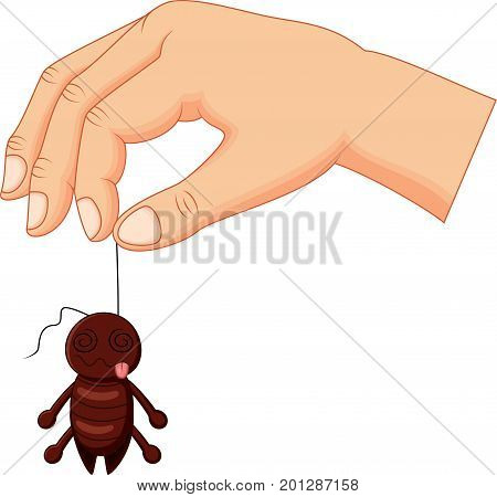 Vector illustration of Cartoon hand holding dead cockroach