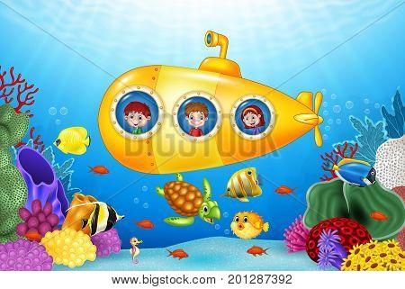 Vector illustration of Little kids in submarine on the sea