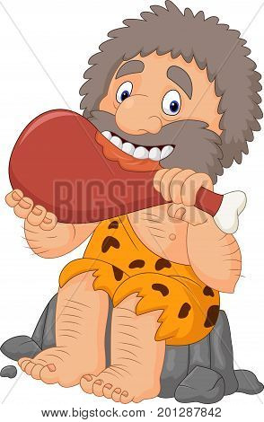 Vector illustration of Cartoon caveman eating meat on white background