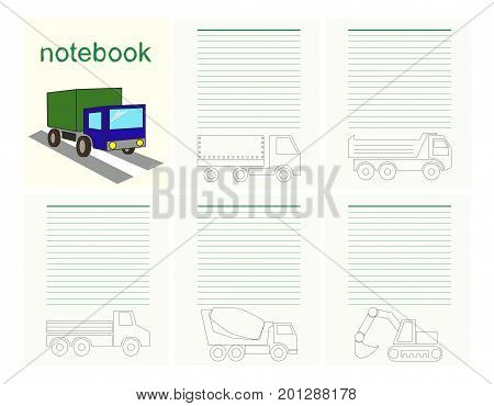 Pages and cover for children's notebook, coloring, cars vector EPS10