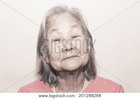 Portrait Of A Old Woman With White Hair
