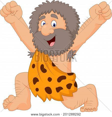 Vector illustration of Cartoon happy caveman on white background