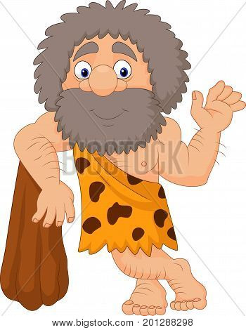 Vector illustration of Cartoon caveman waving hand